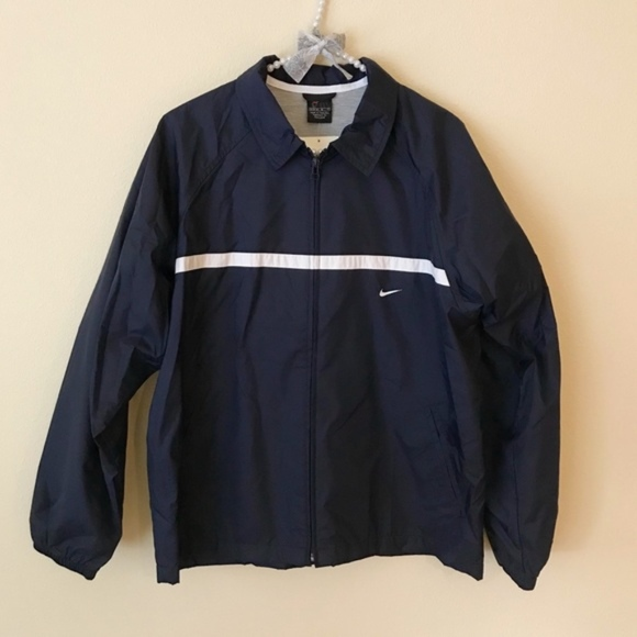 Vintage Nike Navy Blue White Stripe Windbreaker 5bed2b464981